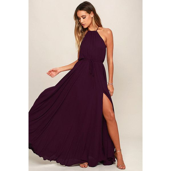 Essence of Style Plum Purple Maxi Dress (2,085 MXN) ❤ liked on Polyvore featuring dresses, purple, plum purple dress, cut out maxi dress, plum maxi dress, cut-out dresses and tie-dye maxi dresses