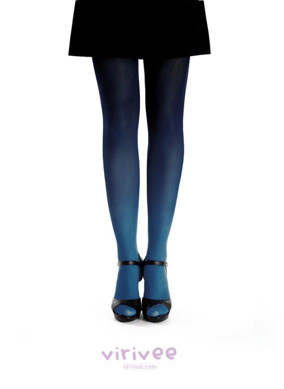 Ombre tights midblue - black