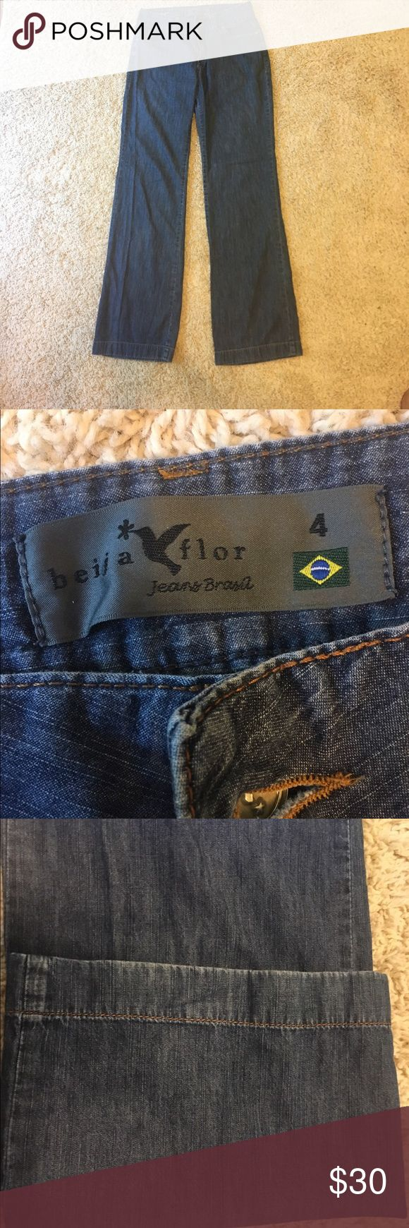 "Beija- Flor Amanda Jeans. High waisted, wide leg Great designer jeans from and ethical company! Inseam approximately 33"". High waisted, wide leg, summer weight. This is a fun style!! Make an offer Beija Flor Jeans Flare & Wide Leg"