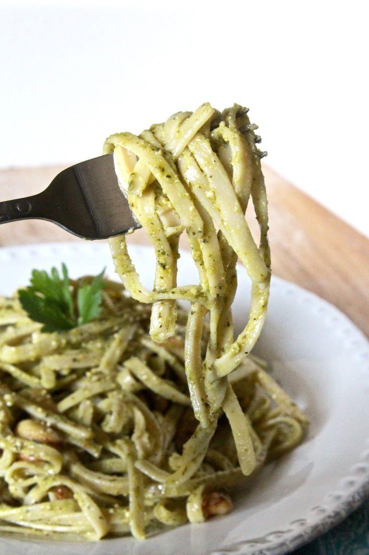 Creamy Vegan Hemp Pesto Alfredo Fettuccine with Oil-Free Roasted Garlic   The Plant Strong Vegan