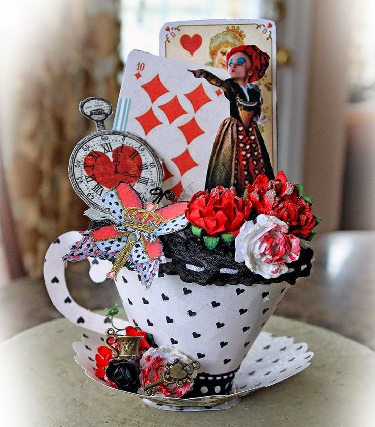Scraps of Darkness scrapbook kits - Renea Harrison made this AMAZING Alice In Wonderland Red Queen Tea Cup, a beutiful creation in red, black and white - The cup is actually made with the papers in the kit!  Find our kits here:  www.scrapsofdarkness.com