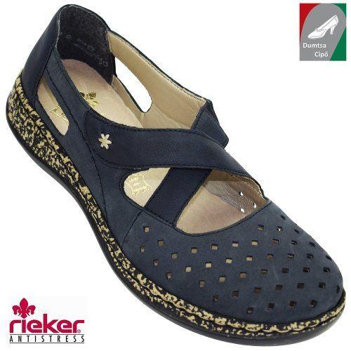 Rieker női bőr cipő 46345-14 sötétkék  55314edb90