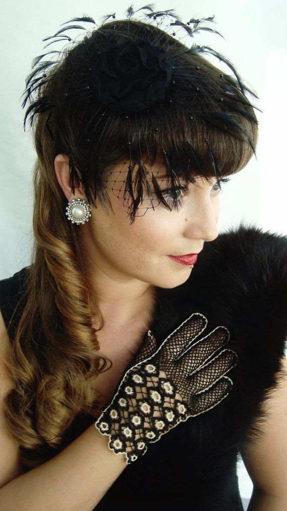 Black Beaded Feathers and Lace 1940s Hat by LadyKatherineHats