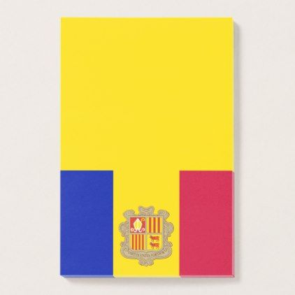 Personalized Flag of Andorra Blue Yellow Red Post-it Notes - blue gifts style giftidea diy cyo