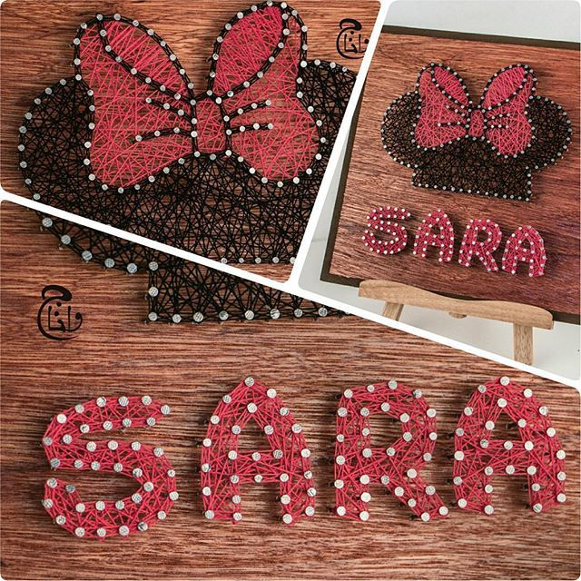 "Check Out Our Latest Artwork ☺ Mention Someone Who's Name Is ""Sara"" In The Comments Section And Let Them Know How Special They Are #Sara #Sarah #MinnieMouse #Minnie #BowTie #Cartoon #Disney #WaltDisney #DisneyWorld #Anime #Red #Girl #Wood #Strings #StringArt #Handmade #Art #Artwork #Qatar #Doha #Jordan #Amman"
