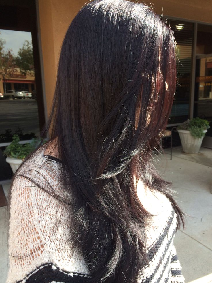 Dark violet brown hair -- long round layers # ...