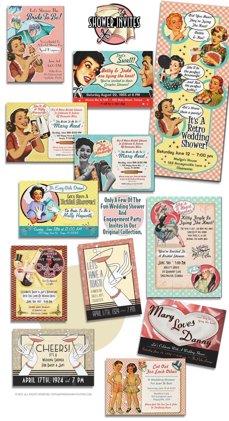 Vintage Bridal Shower Invitations that inspire great parties! More than 30 styles!