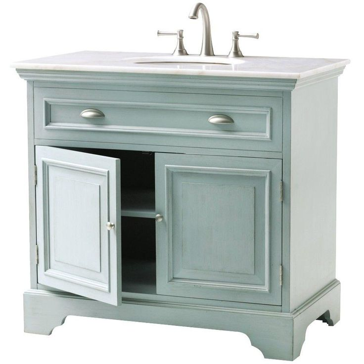 Home Decorators Collection Sadie 38 In Vanity In Antique Light Cyan With Marble Vanity Top In