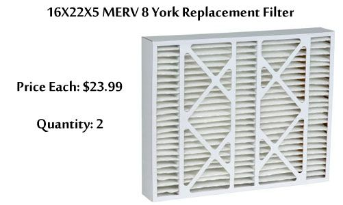 "16X22X5 MERV 8 York Replacement Filter York filter part #YMU1620  Nominal size 16"" x 22"" x 5"" (Actual size 15 3/8"" x 21 7/8"" x 5 1/4"") Filters out 97% of airborne particles. Removes dust, pollen, molds, tobacco smoke, grease, soot, bacteria, animal dander, airborne dust mites, and other particle contaminants."
