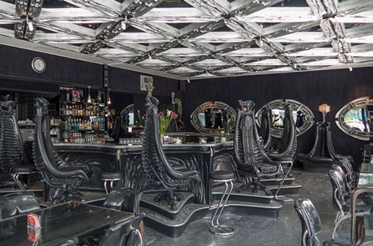 Interior Design Bar Themed Alien. Designed by H. R. Giger, H.R. Giger Bar in Swiss interior design and a unique installation, which is themed Alien.