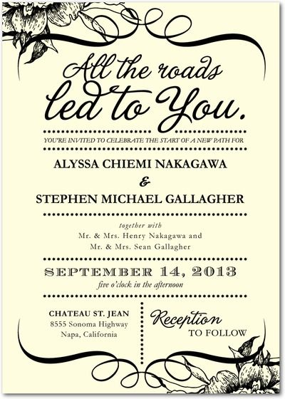 wedding paper divas signature ecru wedding invitations all the roads front black i like the cream color with scrolls and black writing simple and - Quotes For Wedding Invitations