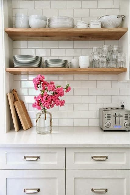 love the open shelves in the kitchen idea instead of crowded cluttered cabinets full of crap we never use