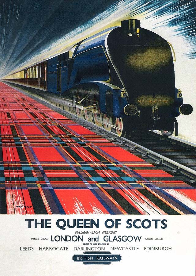 """""""The Queen of Scots"""" the London - Glasgow express. A greeting card from a poster in the National railway Museum collection."""