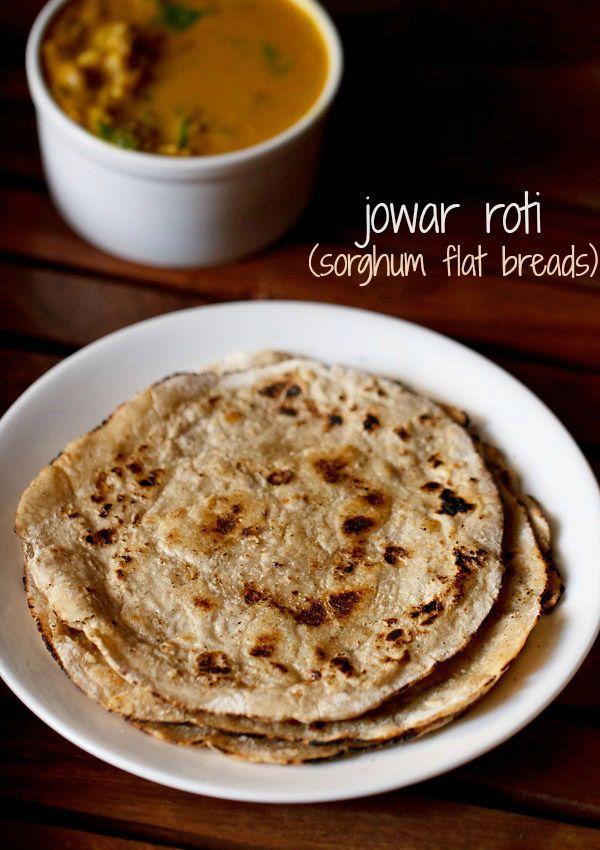 jowar roti or jowar bhakri recipe - healthy flat breads made with sorghum flour/jowar.