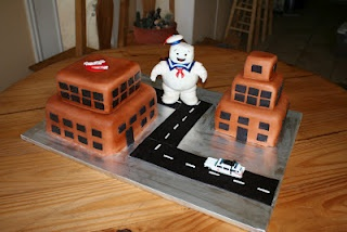 Ghostbusters cake & Mr. Stay Puft Marshmallow Man...For my four year old's birthday