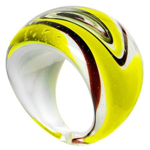 Handmade Yellow Marbled Glass Ring Body Candy. $3.99. Save 83%!