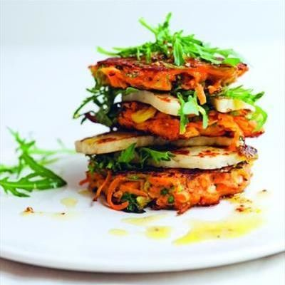 Recipe of the Day: Carrot Fritters with Halloumi and Sweet Lemon Dressing