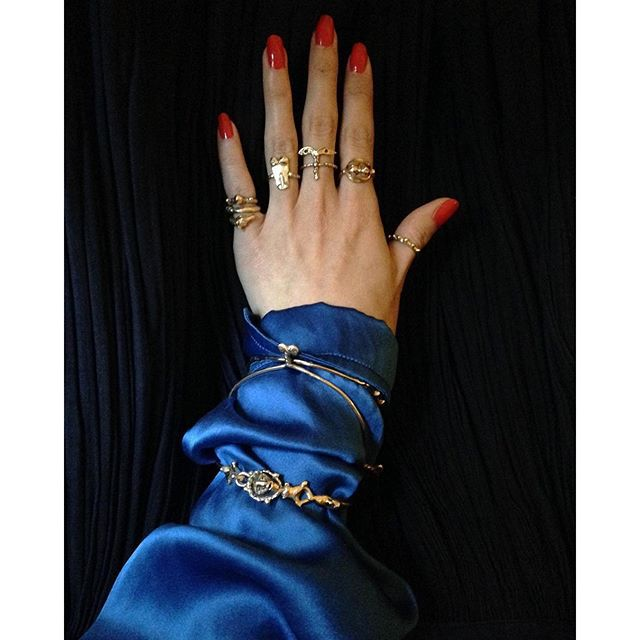 Joanne Burke Jewelery; rings, bangles, gold, coordination, color, accessories,