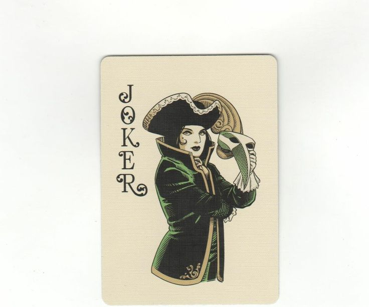 """RARE MINT """"Bicycle Type - Woman with Mask"""" JOKER Playing Card #21"""