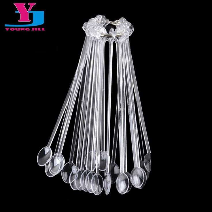 New 20pc Spoon Fan Shaped Transparent False Nail Art Tips Sticks Polish UV Gel Color Display Fake Tip Practice Nails Beauty Tool #NailsAcrylic