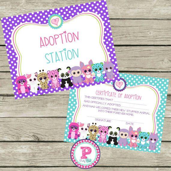 Pet Adoption Certificate Beanie Boo Birthday por PartyPoshPrints