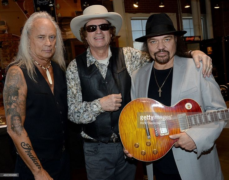Recording Artists Rickey Medlocke, Jimmy Hall and Gary Rossington pose after a press confrence for the Gibson Custom Southern Rock tribute 1959 Les Paul at the Gibson Guitar Factory on May 19, 2014 in Nashville, Tennessee.