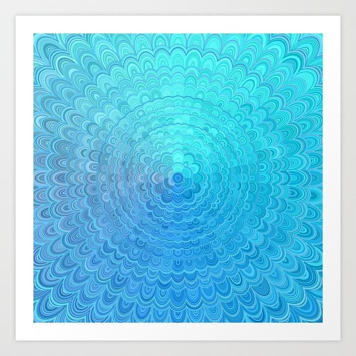 NEW artwork: Light Blue Floral Circle Mandala Art Print  #giftideas #decor #xmasgift #art #homedesign