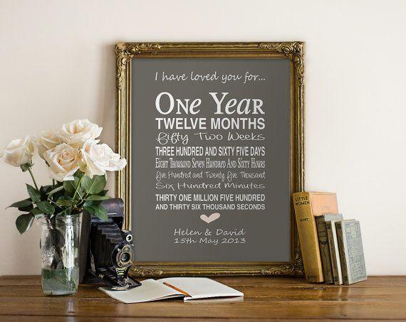 1st anniversary gift - personalised anniversary print- anniversary present- typographic first anniversary