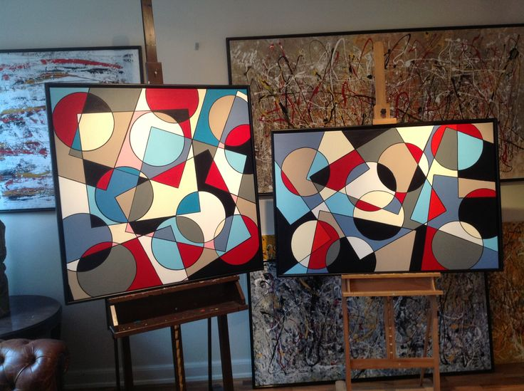 CIRCLE AND SQUARE BY FINNERMANN. 100 X 100 CM AND 80 X 100 CM AKRYL