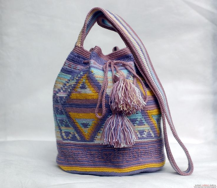 Этот мастер-класс вязания сумки крючком со схемами и описанием расскажет как связать сумку в эностиле.. Фото №35