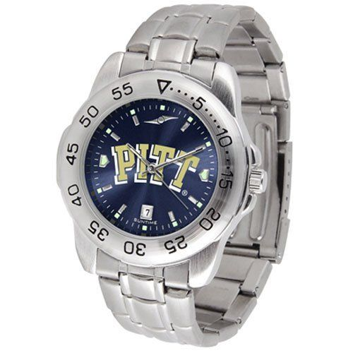 "Pittsburgh Panthers NCAA AnoChrome ""Sport"" Mens Watch (Metal Band) by SunTime. $63.00. Calendar Date Function. Rotation Bezel/Timer. Scratch Resistant Face. This handsome, eye-catching watch comes with a stainless steel link bracelet. A date calendar function plus a rotating bezel/timer circles the scratch resistant crystal. Sport the bold, colorful, high quality logo with pride. The AnoChrome dial option increases the visual impact of any watch with a stunning radial..."