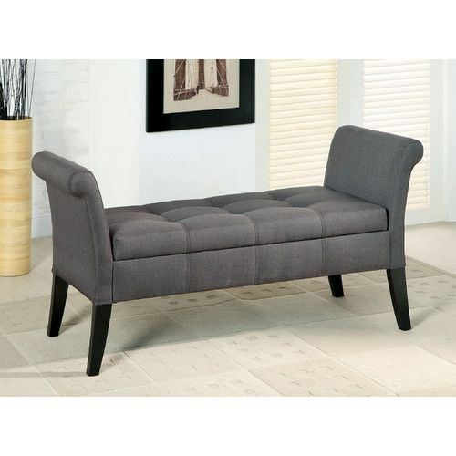 Bedroom Storage Bench Grey With 4 Legs Using Solid Wood Material