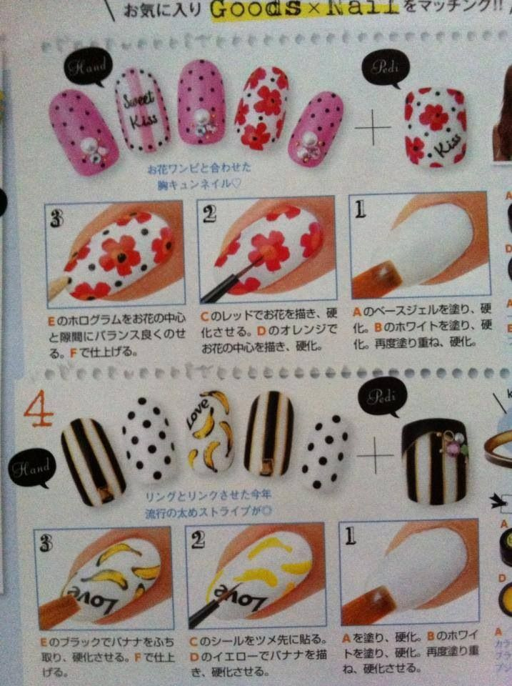 Japanese nail art. Love the striped one