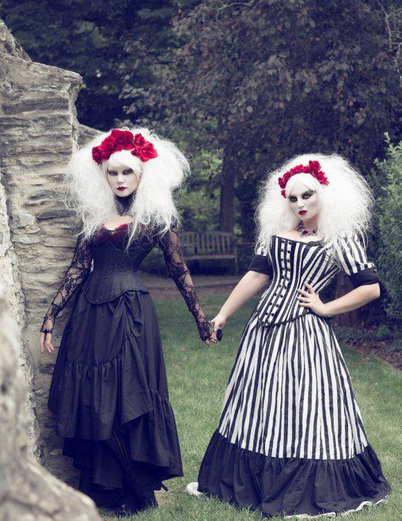 14befb7a73e Tim Burton Gothic Wedding Dress Jack Skellington Black Stripe Victorian  Steampunk Costume Corset Dre