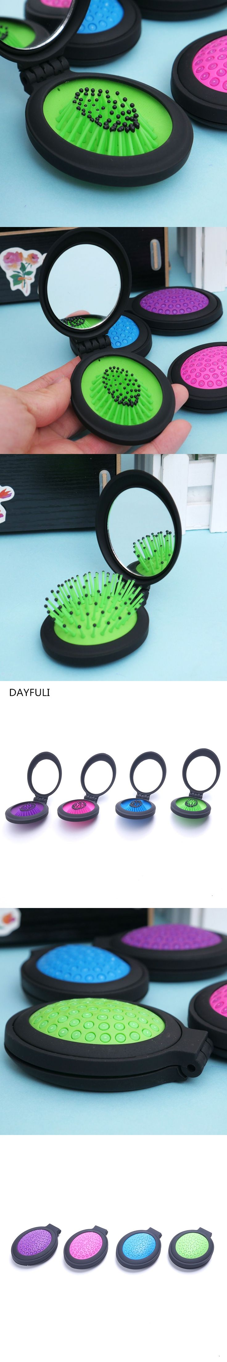 1 Pcs Girls Portable Mini Mirror Folding Comb Airbag Massage Round Hair brush