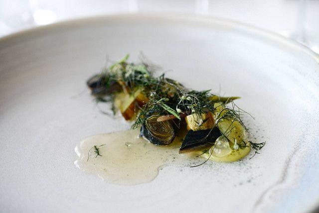 Kadeau Bornholm // Hay smoked mackerel with leek, fermented celeriac, hemp and hemp oil