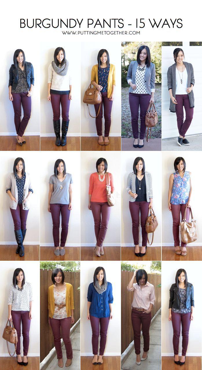** I like this 15 Methods to Put on Burgundy or Maroon Pants