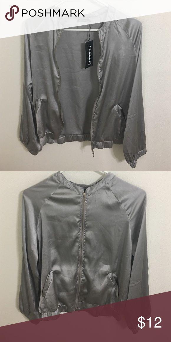 Silk Jacket Silky, satin lightweight bomber jacket. More on the thin side. Boohoo Jackets & Coats