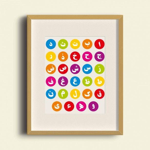Alif Baa Taa - Arabic Alphabet Rainbow - Poster Print