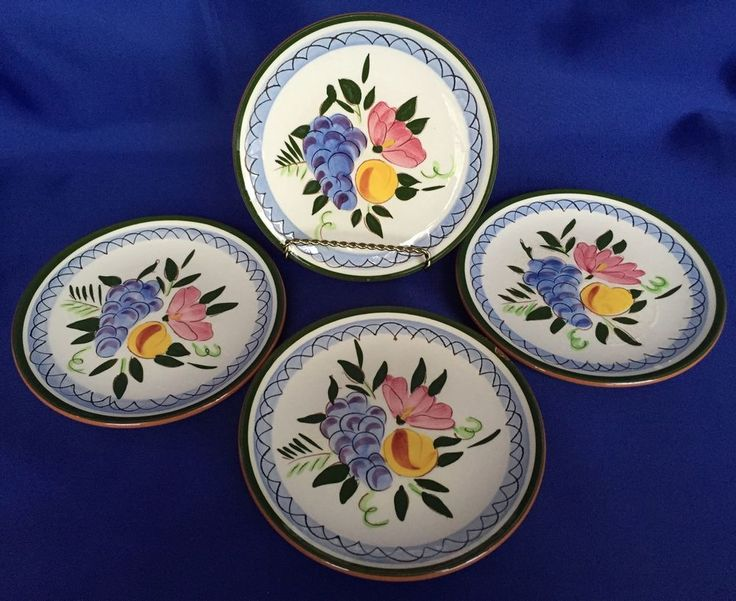 4 Stangl Fruit And Flowers Plates 6 1 4 Inches Pattern Bread Butter Dishes 6 25 Stangl