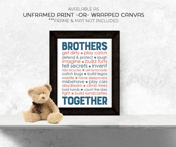 brothers quote wall art boys subway art navy por WillowLanePrints