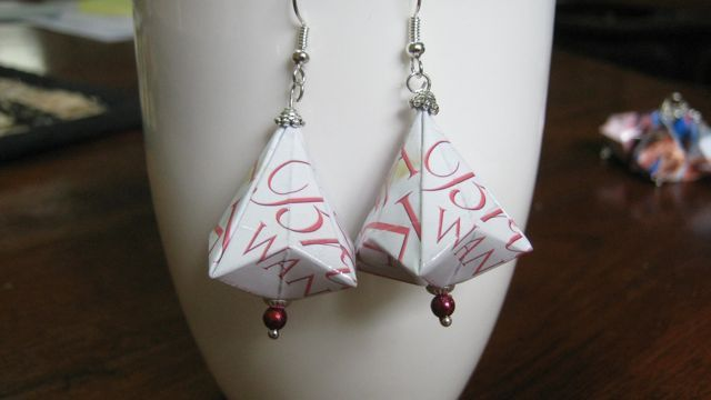 Paper earrings made from a friend's book cover