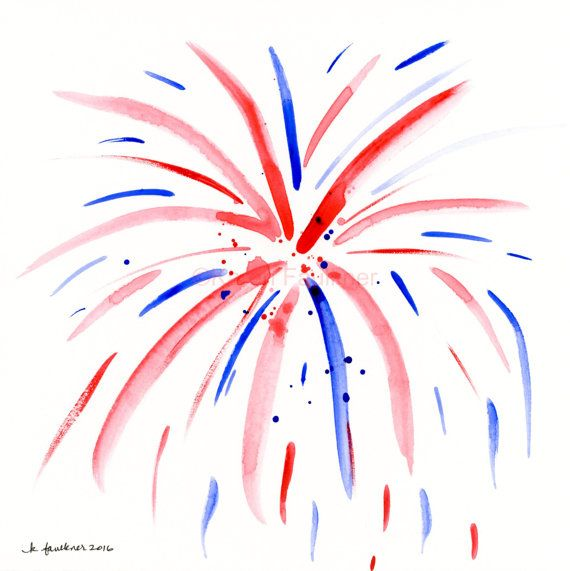 "Original red, white & blue watercolor painting: ""Fireworks"""