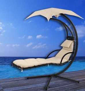 Luxury Floating Lounger With Shade - Cream