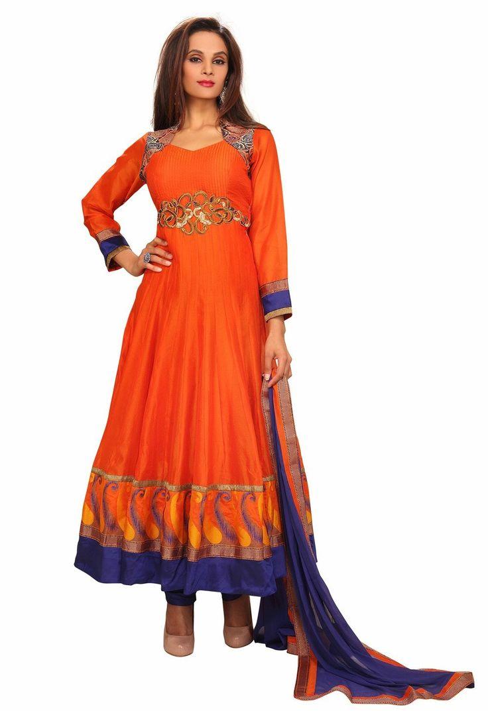 Anarkali Shalvar Dress In Deep Orange For Festivals GF414477