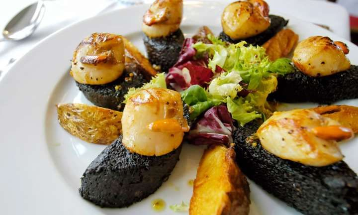 Seared Skye hand dived scallops on Stornoway Black Pudding with orange and honey dressing