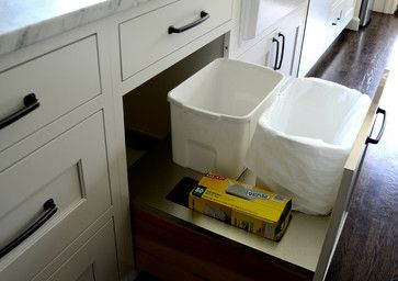 Chestnut Street - transitional - Kitchen - New York - Studio Dearborn garbage and recycling drawer/bins