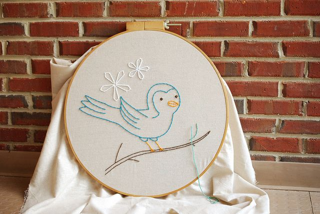 love this big blue bird...  Big Hoop by wildolive, via Flickr: Big Blue, Crafts Ideas, Crafty Things, Crafts Projects, Animals Birds, Blue Birds, Embroidery, Animal Birds, Big Hoop