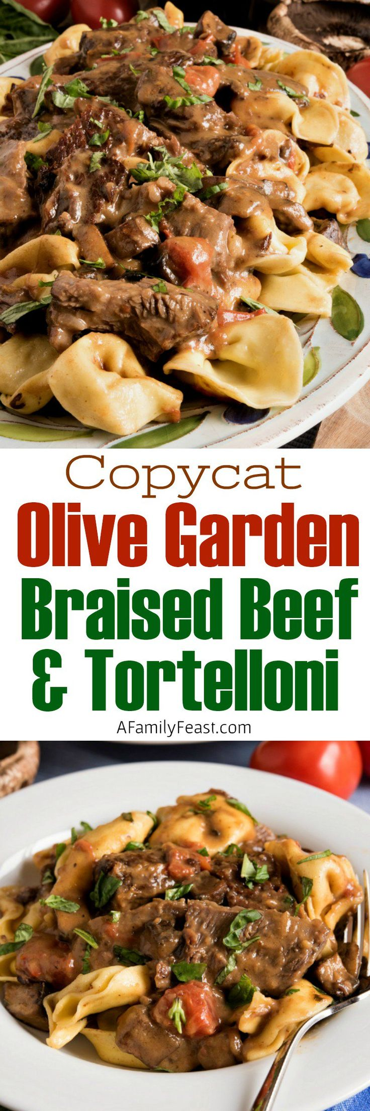 This restaurant-quality Braised Beef and Tortelloni is loaded with tender chunks of beef in the most amazing Marsala wine sauce, and spooned over Asiago cheese tortelloni.