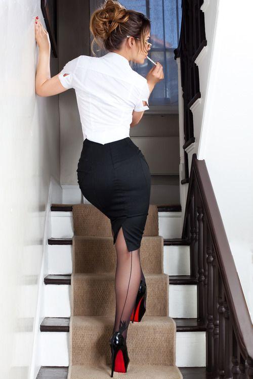 Office sex gif heels skirt